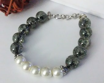 Women's Beaded Bracelet/Girls Metallic Grey Bracelet/Glass Beads with White Pearls and Silver Chain.