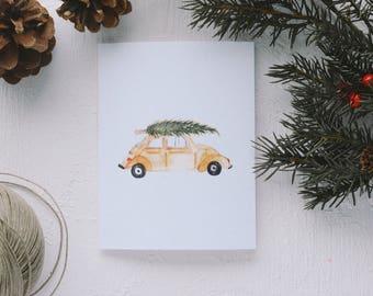Holiday Greeting Card - Christmas Tree Car, Merry Christmas, Joy to All, Happy Holidays, Happy Everything, Merry Christmas, Merry Everything