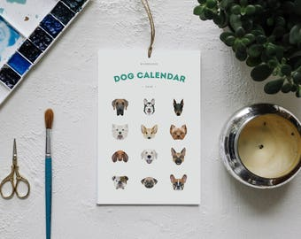2018 Dog Wall and Desk Calendar, Dog Calendar, 2018 Calendar, Animal Calendar, Minimal Calendar, Back to School, Gifts for Her