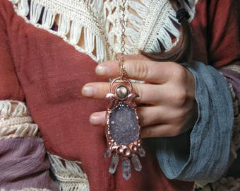 Lunar Goddess Necklace ~ Electroform Crystal Druzy Necklace