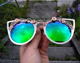 Blue Cateye Sunglasses ~ Wire Wrapped Sunglasses