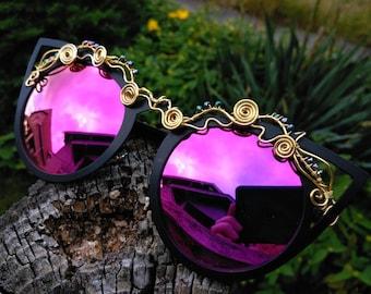 Hot Pink Cateye Sunglasses ~ Wirewrap Sunglasses