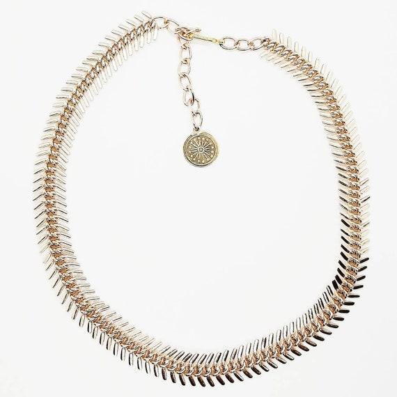 Vintage Rose Gold-tone Herringbone Chain Spiked Ar