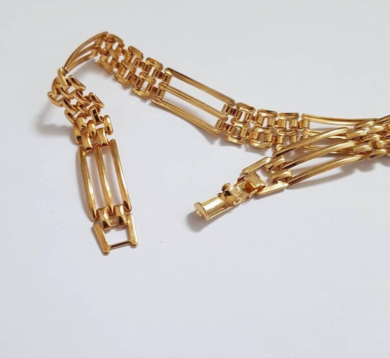 Vintage Gold-tone Gate Style Link Bracelet 80/'s