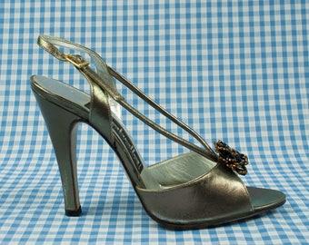 Silver Metallic Shiny Stiletto Sandals Vintage 1980s