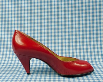 1b88bb443b93 Vintage Red Italian Leather Open Toe Heels (Pumps)