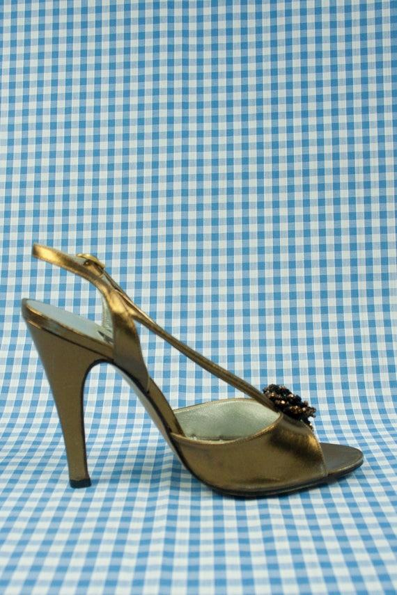 Gold Metallic Shiny Stiletto Sandals Vintage 1980s