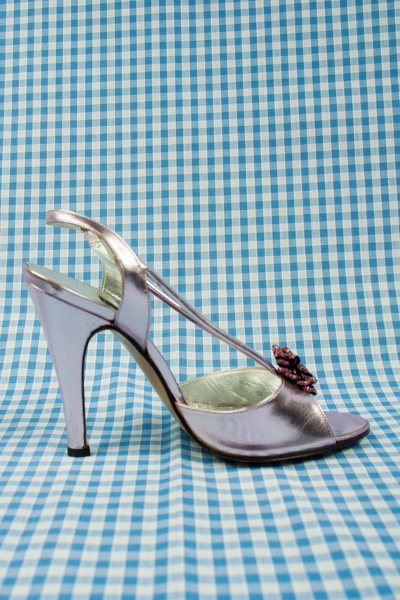 Lavender Metallic Shiny Stiletto Sandals Vintage 1