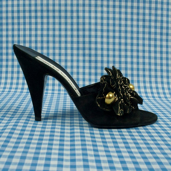 Vintage 1980s Black and Gold Suede Mules (Backless
