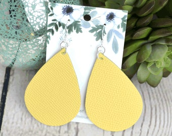 Silver Large Hollow Leaf Leather Earrings Turquoise Pebble E29