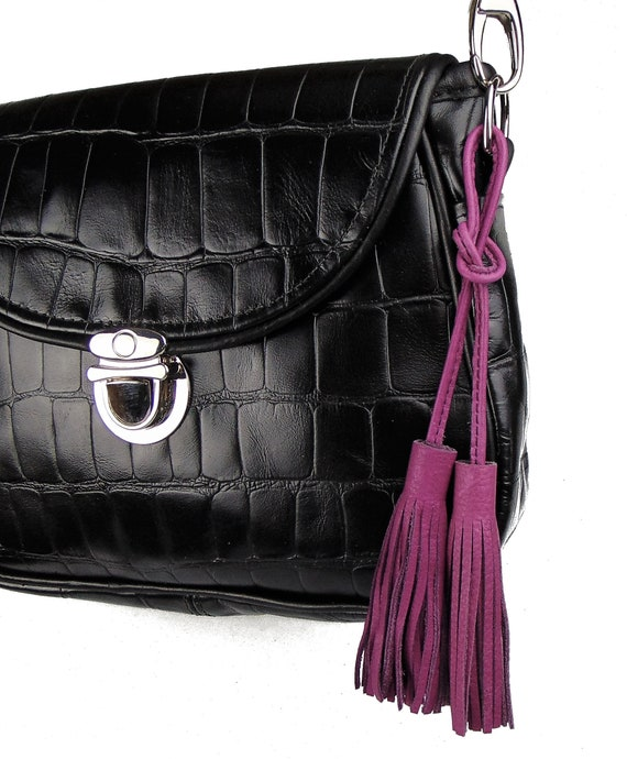 4ed18cbd865 Ready to Ship PURPLE Double-Ended Leather Tassel Bag Charm