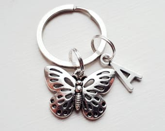 Butterfly Keychain With Initial Charm - Personalized Butterfly Key Chain 348e7b60b
