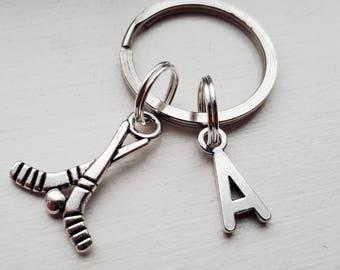 Hockey Keychain With Initial Charm - Personalized Hockey Stick Key Chain ab74524da