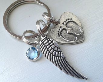 Memorial Keychain - Wing and Footprint Heart Charm With Option of Birthstone - Sympathy Gift - Miscarriage - Loss of Child - Baby Footprint