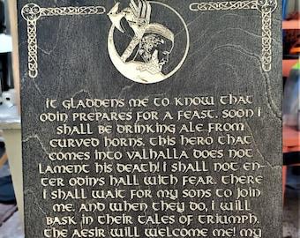 Viking Ragnar Death Speech Carve Wood Sign Wall Art Man Cave Norse