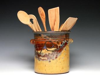 Large Utensil Crock, Stoneware Utensil Holder, Ceramic Kitchen Utensil Vase, Wine Chiller, Wheel Trown Pottery Utensil