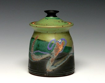 Lidded Jar, Pottery Sugar Bowl, Stoneware Storage Jar, Small Canister
