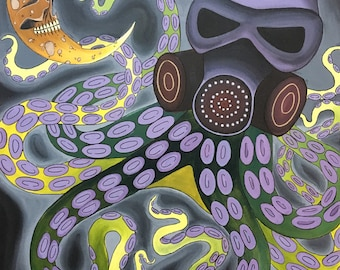 """24"""" X 36"""" Octopus Painting on Stretched Canvas"""