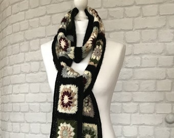Longues et chaudes écharpes que colorées tricotée foulard carré grand-mère  doux fil crocheté pour petite amie cadeau pour foulard Bohème Crochet noir  ... 7311066a369