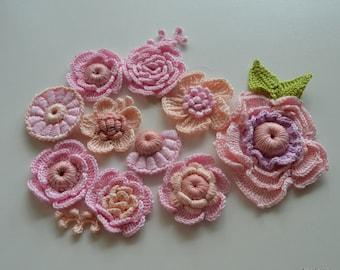 Rosa Rosen Die Irische Häkeln Häkeln 30pcs Blume Set Etsy
