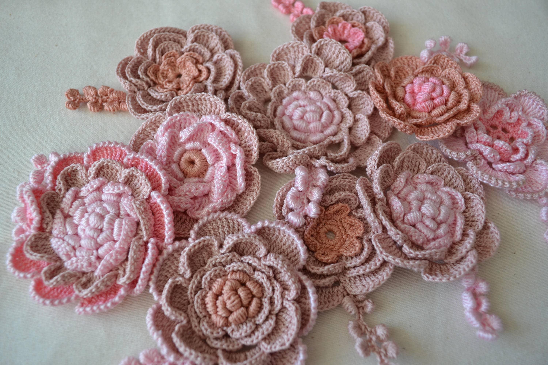 Rose Au Crochet Irlandais Crochet 10pcs Fleurs Blanches De Bricolage