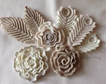 Set flower Party decoration Flower decoration Crochet Irish crochet Flower applique  Flower necklace Crochet set Flower fashion 10 pcs