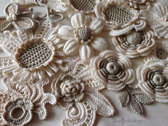 Set Blume 10er Irish Crochet Blume Applikation irische Spitze | Etsy