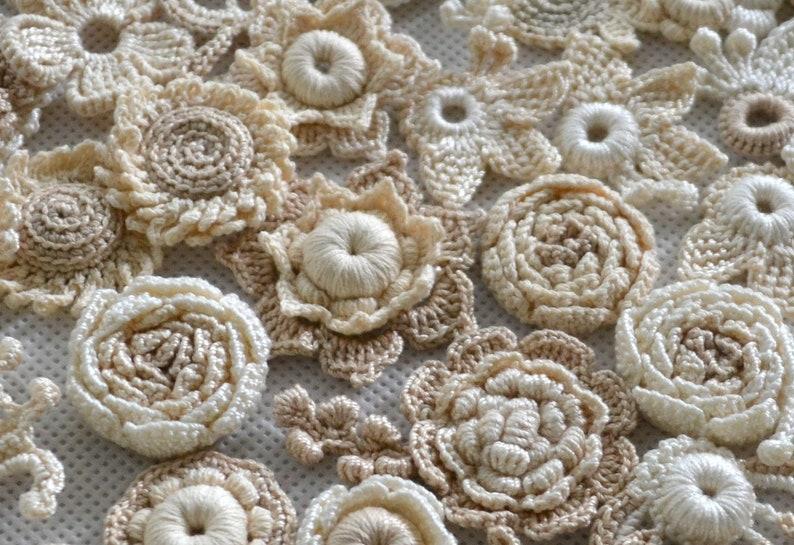 Irish crochet set flowers Crochet gift idea DIY set 30 pcs Flower wedding Set flower Crochet flower Postcard set Brooch Flower card Jewelry