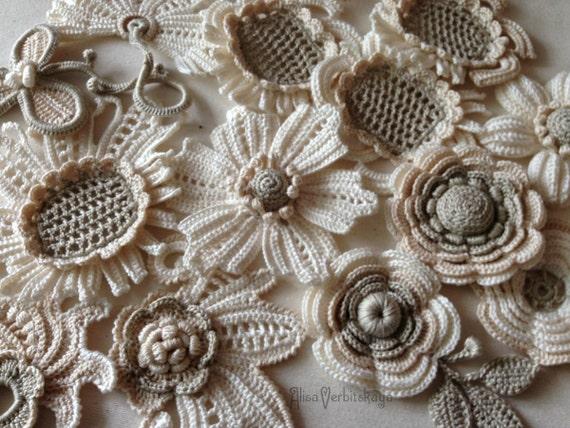 DIY Set 10er gehäkelten Blume irischen Häkelblume design | Etsy