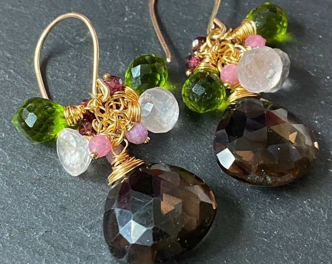 Smoky Quartz Cluster Earrings