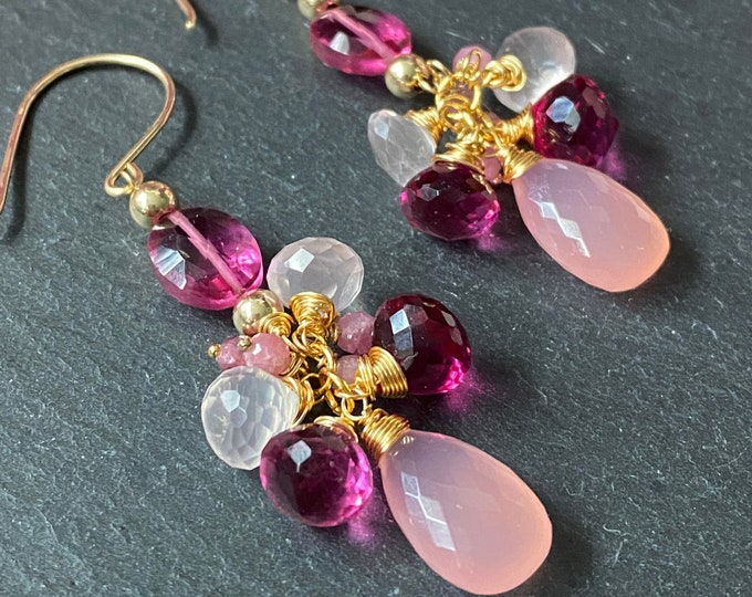 Pink Blossom Cluster Earrings