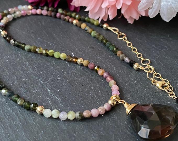 Tourmaline and Smoky Quartz Gemstone Necklace