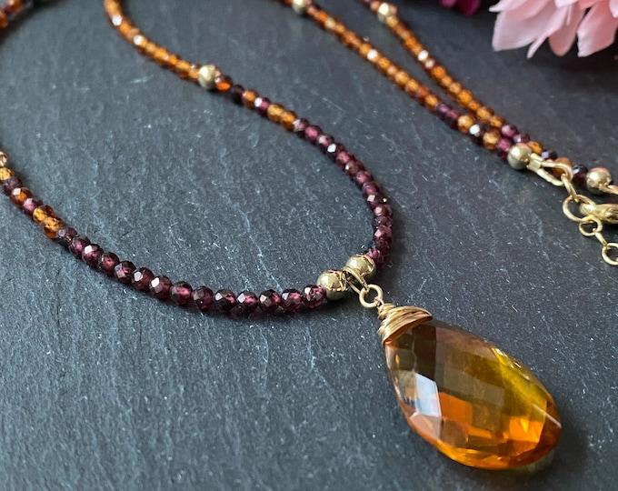 Garnet and Citrine Gemstone Necklace