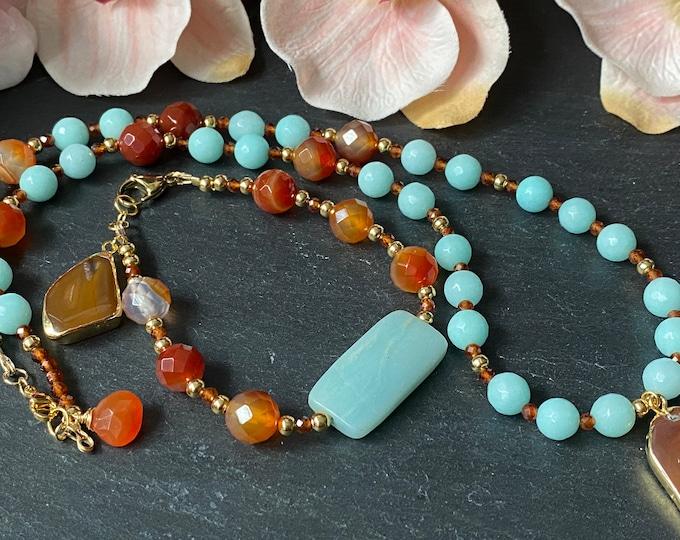 Carnelian and Amazonite Gemstone Necklace Set