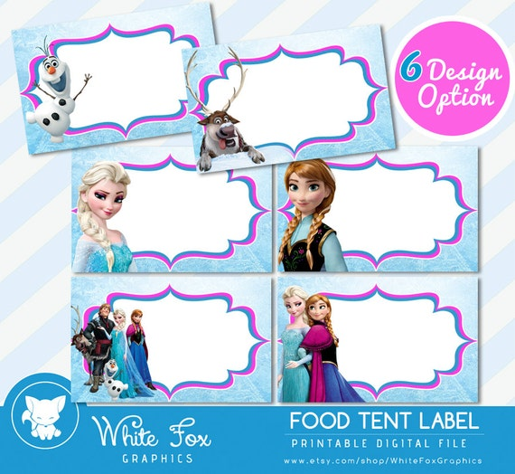Disney Frozen Food LabelsDisney Frozen Food Tents Cards Tags