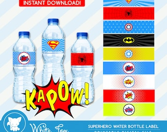 Superhero Water Bottle Labels - INSTANT DOWNLOAD | Superhero Water Bottle Wrappers | Super Hero Party Favors | digital printable