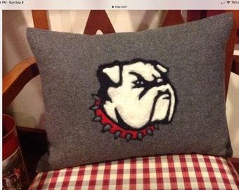College University Letter Pillow Custom Hand needle felted Logo Letters