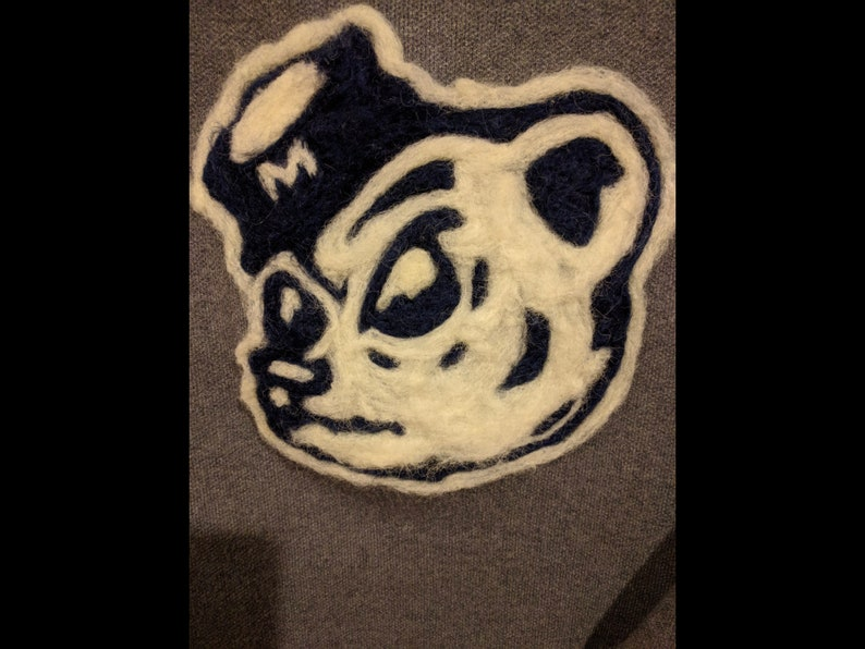 Custom Detailed College Mascot 3 color logo hand needle felted pillow