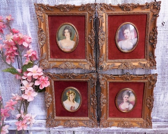 Cameo Creation, Ornate Victorian Style Frames with Original Convex Glass, Set of 4 Matching, Domed Glass, Bubble Glass