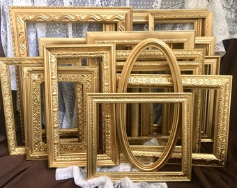 Gold Picture Frame Collage, Gallery Wall, Odd, Unique, and Unusual Frames, Large Open Frame