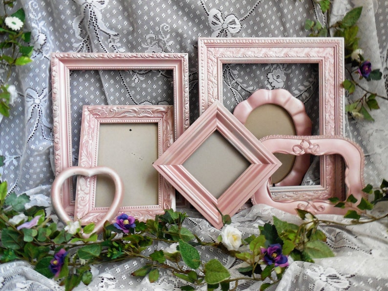 5X7 Nursery 8X10 4X6 Gallery Wall Wedding FREE SHIPPING Shimmer Metallic Picture Collage Pink Champagne Frames Set Home Decor