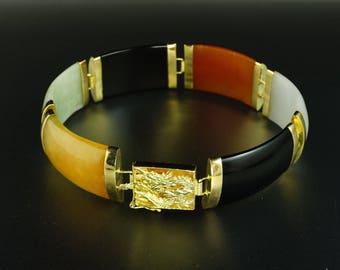 14K Yellow Gold Green Yellow Orange Black Semi-Translucent Jade Dragon Bracelet