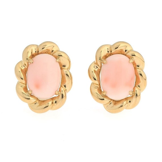 Angel Skin Coral Cabochon 18K Yellow Gold Oval Vin