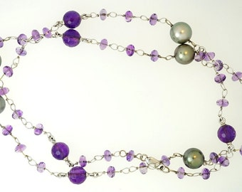 """18K White Gold Gray Tahitian Pearl Amethyst Necklace 25"""" Long"""