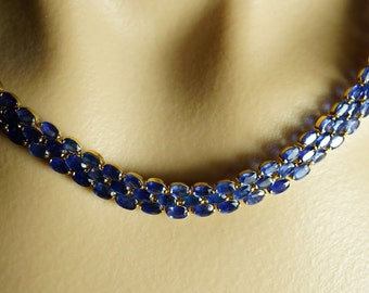 14K Yellow Gold Natural Blue Sapphire HEAVY Collar Collier Necklace