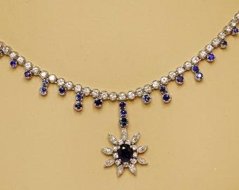 18K White Gold Diamond Nat Blue Sapphire Collar Collier Necklace 41.6g X-Heavy