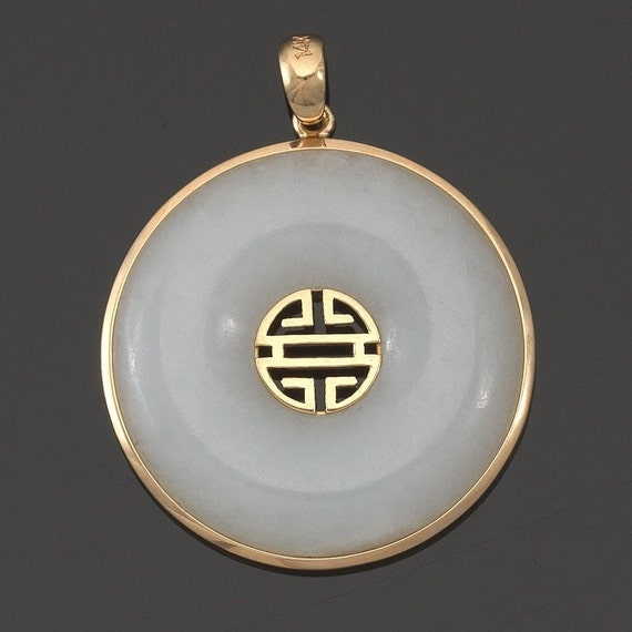Semi-Translucent White Jadeite Bi Disc 14K Yellow