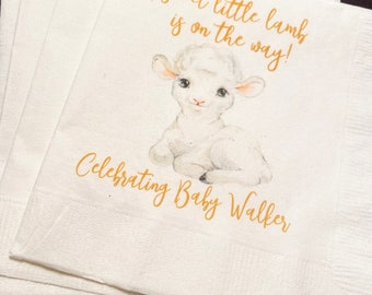 Set of 25 Lamb Baby Shower A Sweet Little Lamb is on the Way Personalized Cocktail Napkins