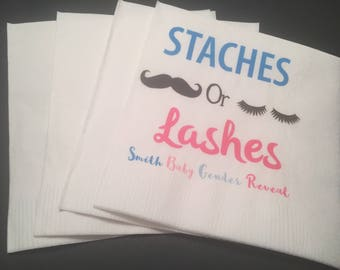 Personalized Staches or Lashes Gender Reveal Baby Shower Cocktail Napkins, Set of 25