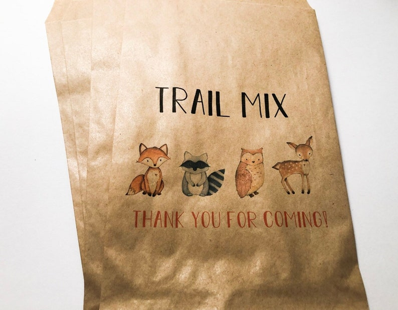 Trail Mix Girl Woodland Animal Baby Shower Floral Woodland Personalized Kraft Favor Bags Treat Bags Set of 10